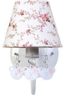Arandela 1 Lâmpada Ursinhas Quarto Bebê Infantil Menina Potinho De Mel Rosa