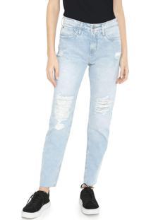 Calça Jeans Calvin Klein Jeans Boyfriend Destroyed Azul