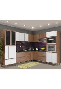 Cozinha Completa 19 Portas 4 Gavetas 5461Mf131 Nogueira/Branco - Multimóveis
