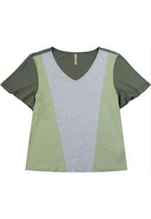 Blusa Em Viscose Com Fluída E Recortes Verde