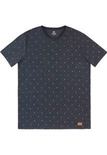 Camiseta Masculina Slim Em Malha De Algodão Estampada