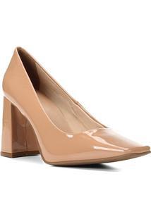 Scarpin Shoestock Bico Quadrado Salto Bloco Alto - Feminino-Nude