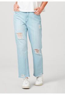 Calça Hering Em Jeans De Algodáo Destroyed Azul - Tricae