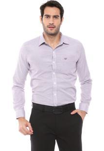 Camisa Colombo Reta Padronagem Bordô/Branca