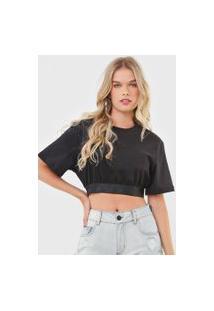 Camiseta Cropped Colcci Recorte Preta