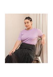 Blusa Em Tricô Lisa Manga Curta Curve & Plus Size | Ashua Curve E Plus Size | Roxo | Gg
