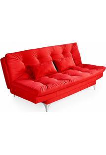 Sofá-Cama 3 Lugares Casal Com Chaise Versátil Veludo Liso Vermelho