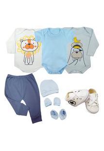 Saída De Maternidade Enxoval Roupa Bebê Kit 6 Pçs Body Mijão Azul