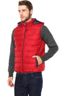 Colete Puffer Polo Wear Com Capuz Vermelha