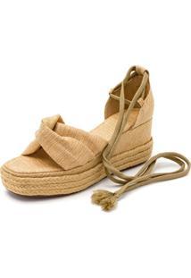 Sandália Anabela Mr Shoes Salto Médio Em Juta E Sisal 170408 - Bege - Kanui