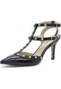 Scarpin Com Pedras Shoes Inbox Em Snake Verniz - Feminino-Preto