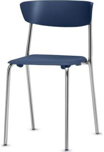 Cadeira Bit Assento Azul Base Cromada - 53664 - Sun House