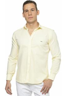 Camisa Slim Fit Alfaiataria Burguesia Em Oxford Yellow