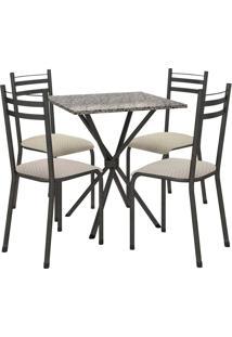 Conjunto De Mesa 70Cm 4 Cadeiras Lyon Preto Fabone