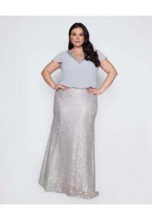 Vestido Almaria Plus Size Pianeta Festa Renda Prata Cinza