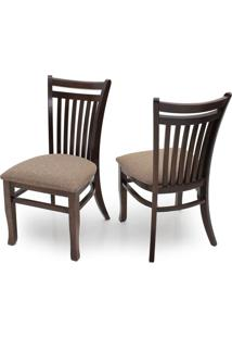 Cadeira De Jantar Esmeralda (Kit C/ 2 Peças) - Ref Cj014 - Cor Imbuia / Tecido Ls-01