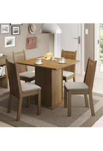 Conjunto De Mesa Com 4 Cadeiras Kate Suede Rustic E Pérola