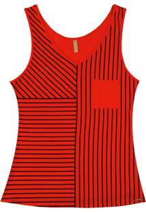 Blusa Listrada Vermelho