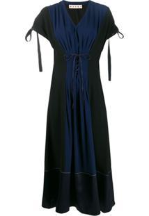 Marni Vestido Plissado Com Espartilho - Preto