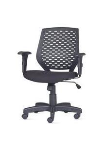 Cadeira Liss Com Bracos Assento Polipropileno Courino Base Reta Metalica Preta - 54659 Preto