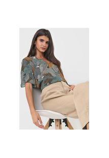 Camiseta Colcci Estampada Verde/Bege