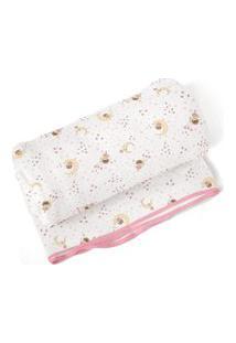 Cobertor Papi Era Uma Vez Para Menina Em Algodáo 70 X 90Cm Branco/Rosa