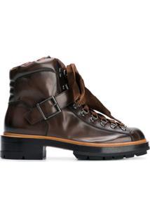 Santoni Ankle Boot De Couro Com Cadarço - Marrom