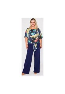 Blusa Almaria Plus Size Garage Amarração Folhagem Azul Marinho