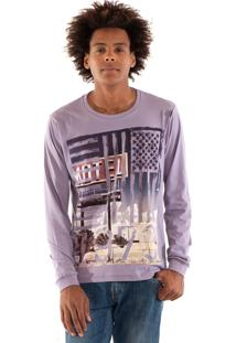 Camiseta Konciny Manga Longa Estampada Violeta