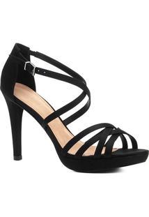 Sandália Shoestock Salto Fino Recortes Feminina - Feminino