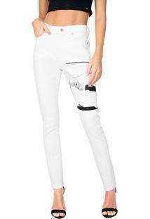 Calça Sarja Calvin Klein Jeans Skinny Estampada Branca