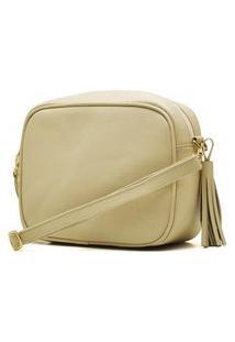 Bolsa De Couro Hendy Bag Transversal Bege