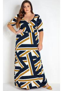 Vestido Plus Size Geométrico Transpassado
