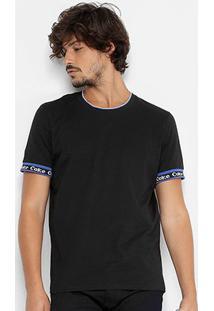 Camiseta Coca-Cola Gola Com Frisos Masculina - Masculino-Preto