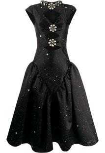 Christopher Kane Vestido Estruturado Com Estampa De Constelação - Preto