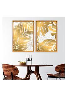 Quadro Com Moldura Chanfrada Flores Douradas Dourado - Médio