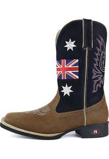 Bota Country Texana Sapatofran Bico Quadrado Inglaterra Azul-Marinho