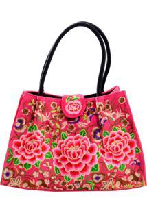 Bolsa Areia Branca Gipsy Floral Boho Chic Rosa