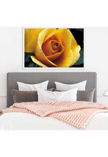 Quadro Love Decor Com Moldura Rosa Amarela Branco Médio