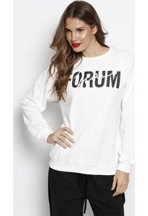 "Blusã£O Em Moletom ""Forum Jeans"" - Off White & Preto Forum"