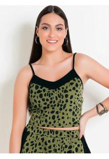 Blusa Cropped Estampa Animal Print Verde