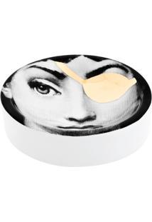 Fornasetti Bandeja Cinza E Dourada Em Porcelana. - Grey