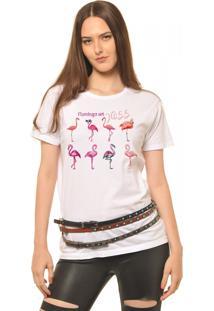 Camiseta Joss Flamingo Set Branco
