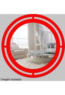 Espelho Círculo- Espelhado & Vermelho- Ø29,5X5Cmcia Laser