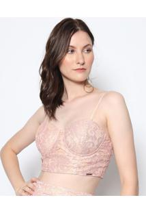Blusa Cropped Com Bojo- Rosê & Douradadimy