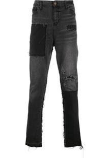 Val Kristopher Calça Jeans Com Acabamento Desfiado - Preto