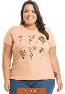T-Shirt Com Estampa Floral Laranja