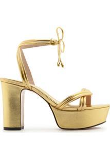 Sandália Meia Pata Lace-Up Dourada   Schutz