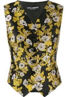 Dolce & Gabbana Colete Floral - Preto