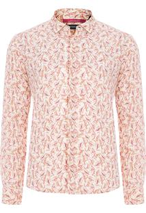 Camisa Masculina Liberty Folhas Pinceladas - Bege